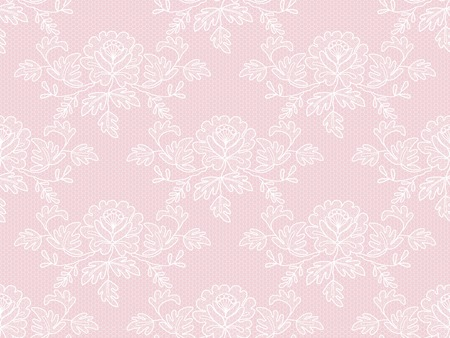 Seamless white floral lace on a pink background