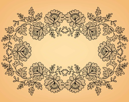 lace frame with a floral ornament on a beige background Çizim