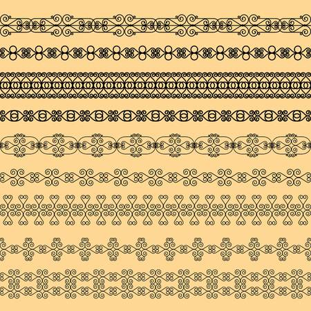 Set of black borders on a beige background Çizim