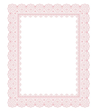 Elegant pink lace frame on a white background