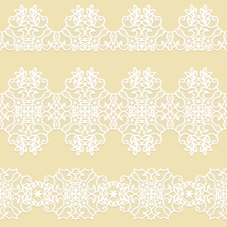 Set of white lace borders on a beige background Çizim