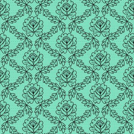 black floral lace pattern on a turquoise background