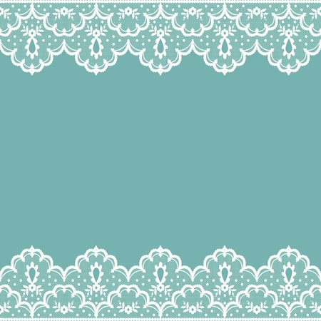 white lace borders on a turquoise background