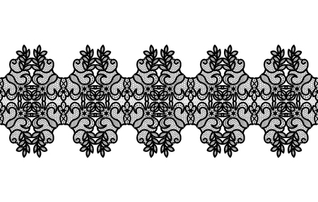 Black lace border with floral pattern on a white background Çizim