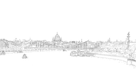 Panorama von Moskau skizzieren