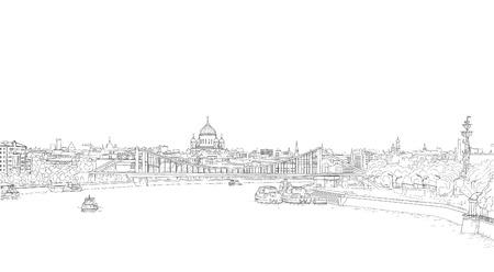 schets panorama van Moskou