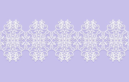 white lace ribbon with floral pattern on a lilac background