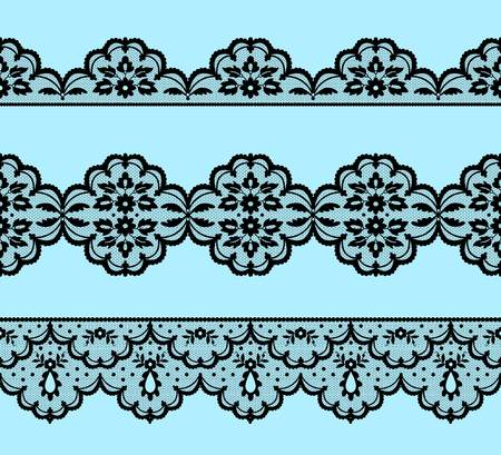 Set of black lace borders on a blue background