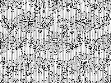 Seamless black floral lace on a white background Çizim