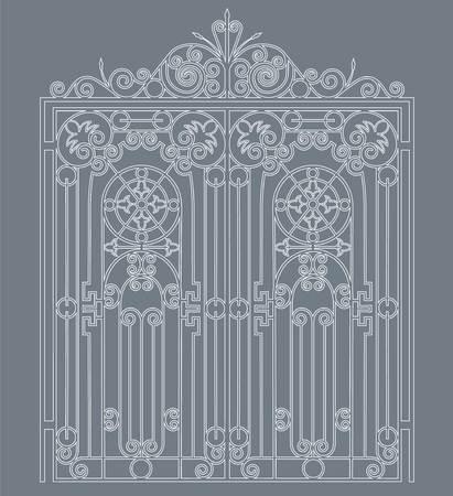 puerta de metal blanco con adornos forjados sobre un fondo gris Ilustración de vector