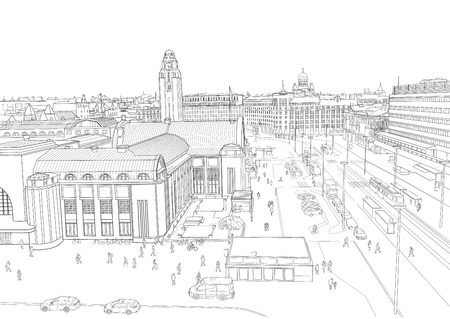 sketch of the Central Station of the city of Helsinki. Finland
