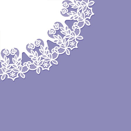 invitation card with lace pattern on purple background