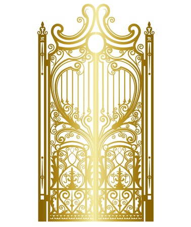 gold metal gate with forged ornaments on a white background