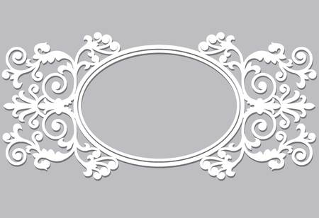 Elegant oval white frame on a white background