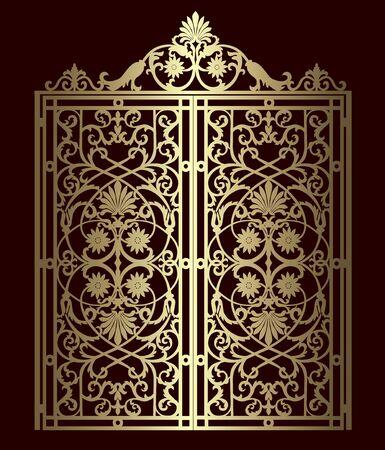 Puerta de metal dorado con adornos forjados sobre un fondo negro
