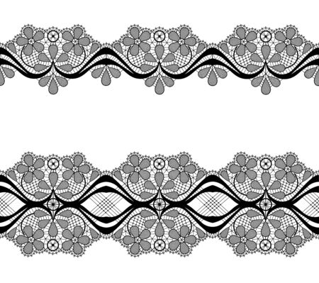 Black lace border with floral pattern on a white background Archivio Fotografico - 132327763