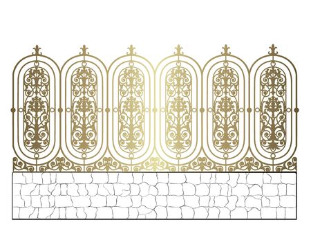 golden forged fence isolated on white background Archivio Fotografico - 132327764