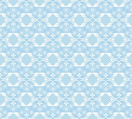 white lace floral pattern on a blue background 일러스트