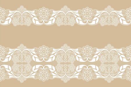 Conjunto de bordes de encaje blanco sobre un fondo beige