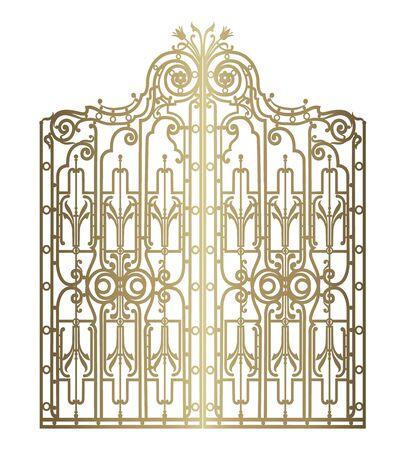 puerta de oro forjado Ilustración de vector