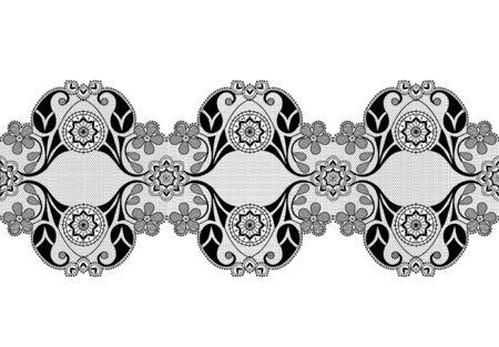 Black lace ribbon with floral pattern on a white background Ilustração