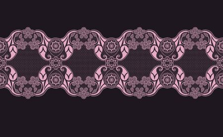 pink lace ribbon with floral pattern on a black background