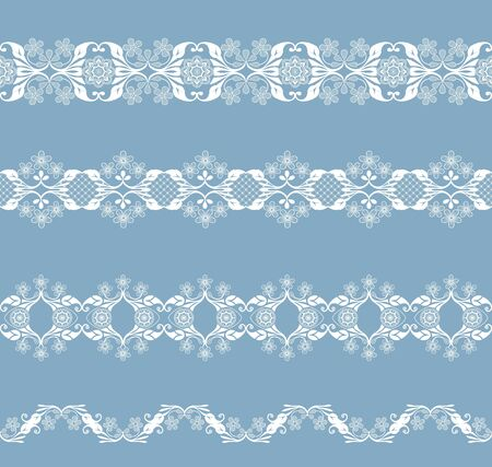 white openwork borders with floral pattern on a blue background Ilustracja