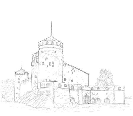 sketch of the medieval fortress of St. Olav in Finland