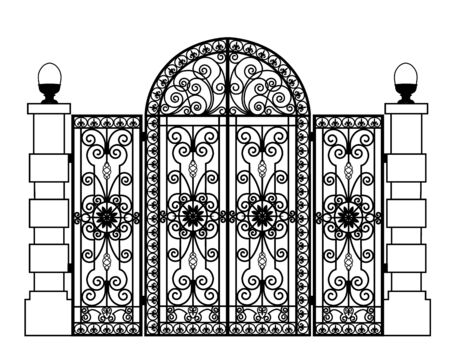 Black metal gate with forged ornaments on a white background