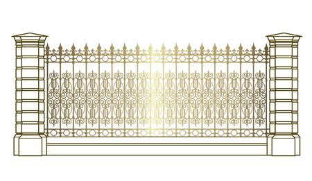 golden forged fence isolated on white background