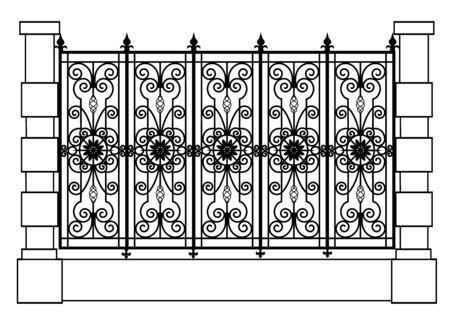 black forged fence Ilustración de vector