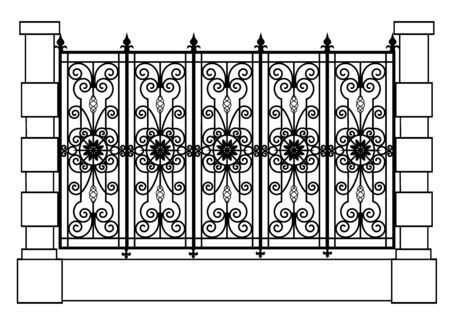 black forged fence Vector Illustratie