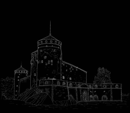 sketch of a medieval fortress Illustration