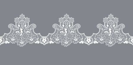 white lace border with floral pattern on a gray background Illustration