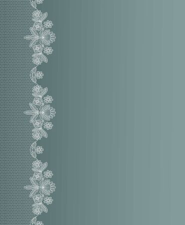 white lace border on a green background