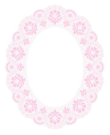 pink lace frame on a white background
