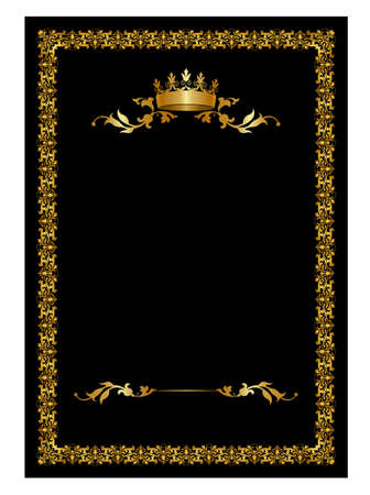 Royal card with crown on black background Illustration