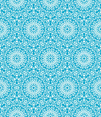 white decorative outline pattern on a blue background