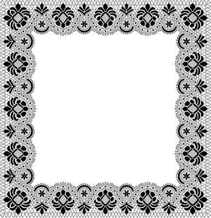 black lace frame with floral ornament on a white background Иллюстрация