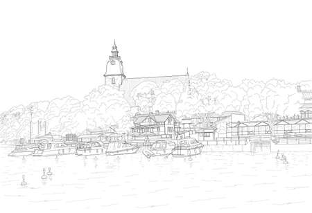 sketch of the city embankment
