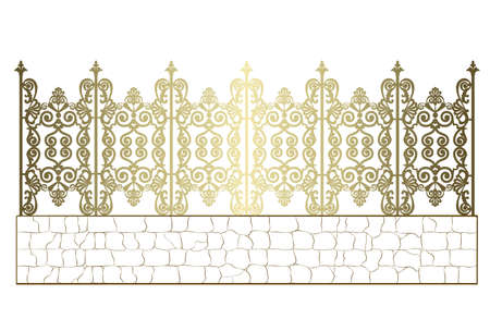 golden wrought iron fence