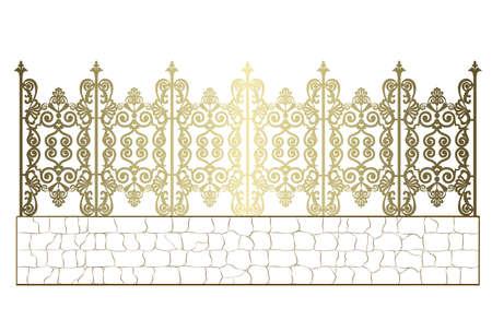 golden wrought iron fence Standard-Bild - 155195537