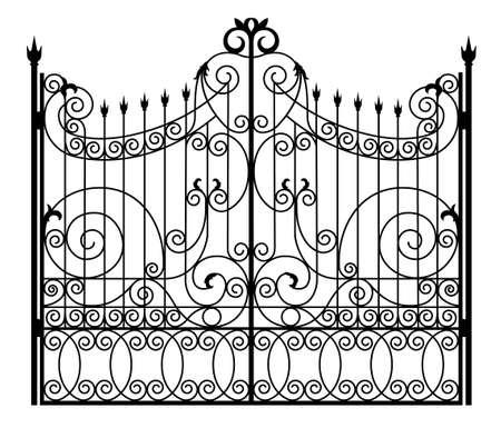 black wrought iron gates Vector Illustration