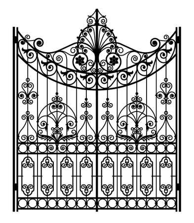 black forged gate Ilustración de vector
