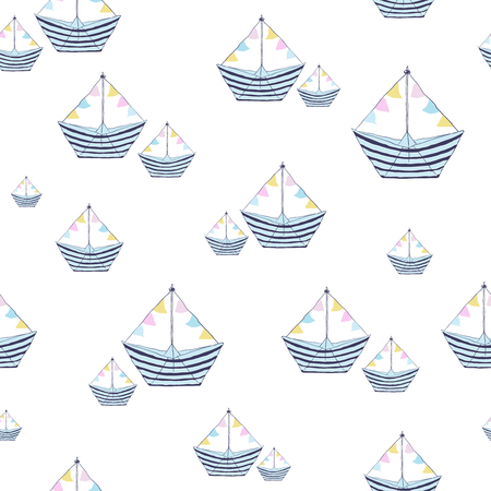 Seamless pattern with geometric sailing boats Illustration