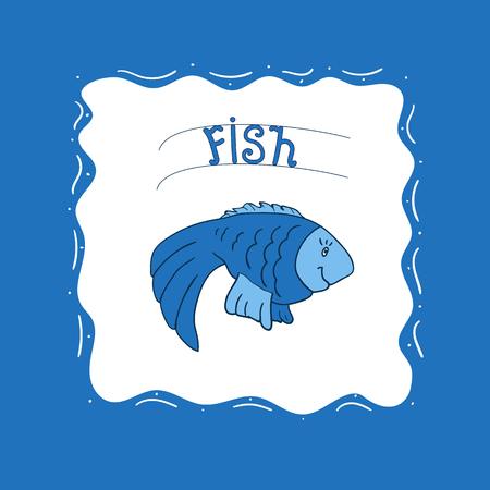 Cute blue fish on a white background
