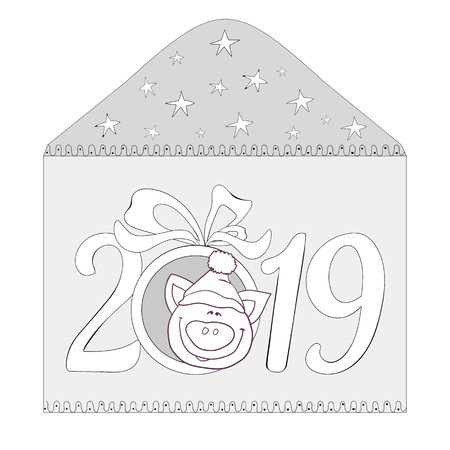Happy New Year 2019 greeting card with piglet. Banco de Imagens - 121875691
