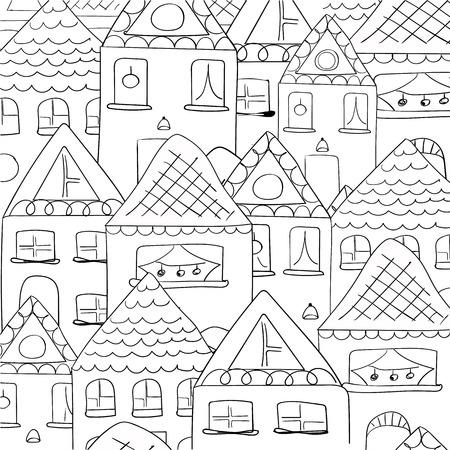 Background outline cartoon houses. Vector Illustration