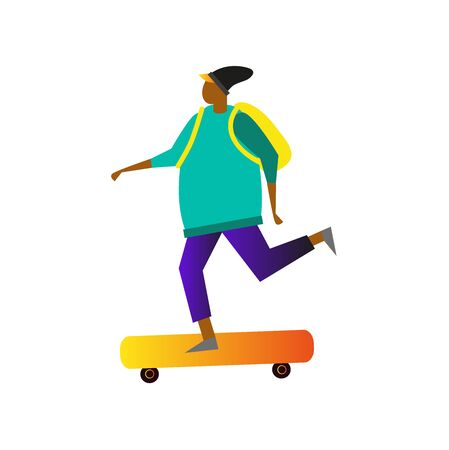 Vector flat illustration of boy on skateboard. city activites