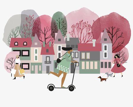 City activites. Vector flat cartoon. Watercolor vector illustration of city street in springtime. Illustration